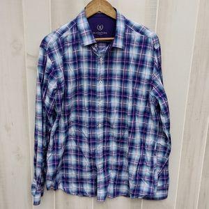 Bugatchi shaped fit plaid Purple button down shirt